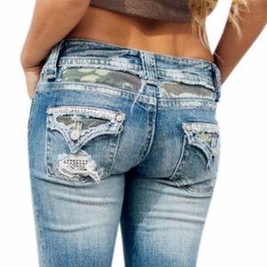 Miss Me Distressed Jean Shorts Camo Rhinestones